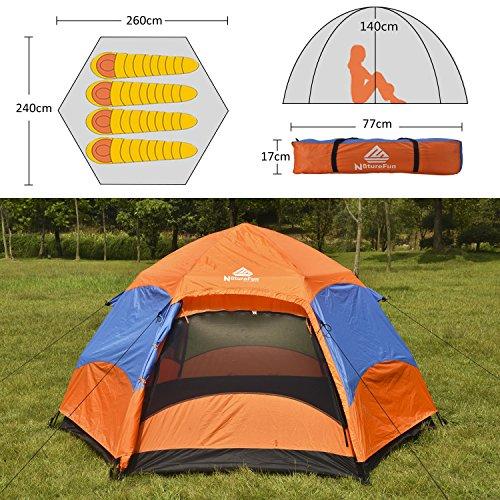 NatureFun 3-4 Personen Wasserdichtes Camping Trekking automatisches Familien Springzelt, 2 Türen, 4 Jahreszeiten, 260*140*240cm(L*H*T) -