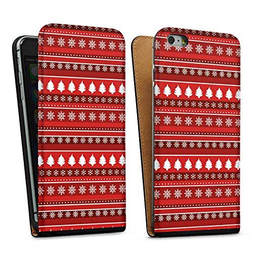 Apple iPhone 5 Housse étui coque protection Arbres Noël Rouge Sac Downflip noir