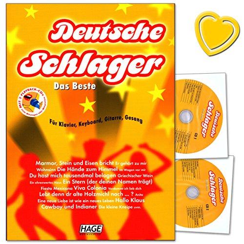 Preisvergleich Produktbild Deutsche Schlager Das Beste für Klavier, Keyboard, Gitarre und Gesang - leicht bis mittelschwer arrangiert, plus Songtexte, Akkorde und Akkord-Grifftabelle - mit 2CDs, herzförmiger Notenklammer