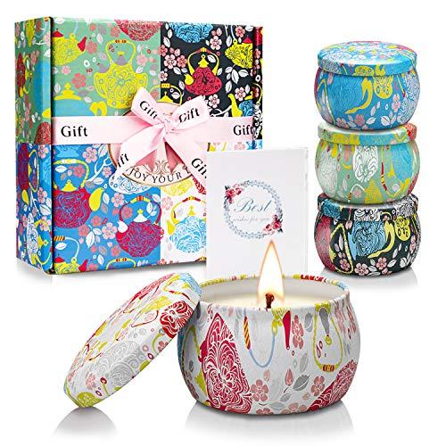 Yinuo light candele profumate set regalo,100% natural soy wax durata 25-30 ore candela profumate regalo per la decorazione di aromaterapia la festa nuziale bagno yoga natale compleanno san valentino