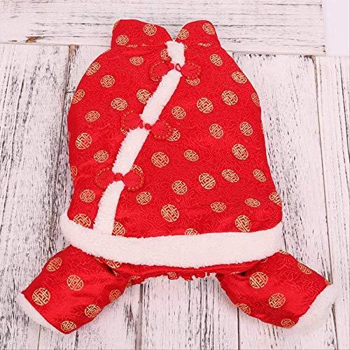 MLXZXQT Haustier Hund Tang Anzug Kleidung sowie Baumwolle Vier Fuß Fu Wort Dicke warme Katze Mantel Haustier Aktien 2XL rot