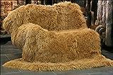 100% Tibet mongolisches Lammfell Teppich,Schlafzimmer Wohnzimmer Lammfell Vorleger Teppich (240 x 340 cm, Dunkelbeige)