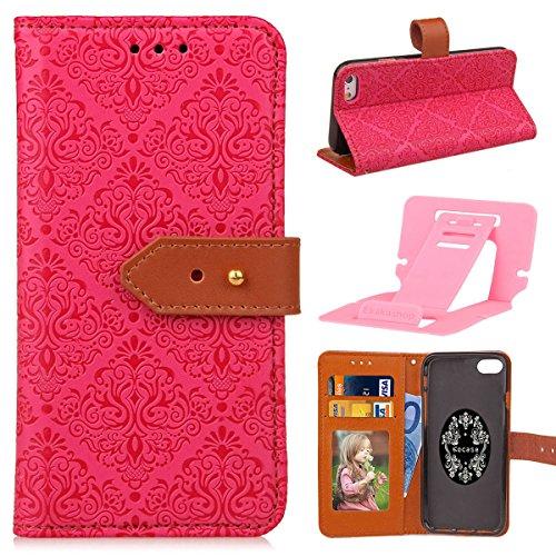 iphone 6 6S Caso,iphone 6S di caso di vibrazione, copertura di cuoio della iphone 6 PU in Pelle, Ekakashop caso Marrone Mandala Retro di vibrazione del modello della cassa del telefono cellulare caso A-Red Rose