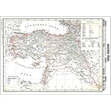 Historische Karte: ASIATISCHE TÜRKEI 1859 (Plano): KLEINASIEN mit Anatolien, KURDISTAN, MESOPOTAMIEN - ARMENIE, SYRIEN ... - GRIECHENLAND - IRAK - NÖRDL. IRAN - ZYPERN (gerollt)
