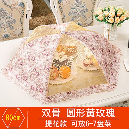 BBDQX Folding cover, dish cover, round food cover, anti fly cover, dining table cover, leftover food, vegetable cover, square cover, dish umbrella cover, bowl cover,Round yellow rose -