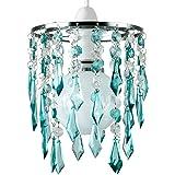MiniSun – Tweelagse kroonluchter met hangende acryl juwelen, turkoois/transparant – Kristallen lampenkap kroonluchter – Lampe