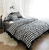 LUCKY CLOVER-A Juego de sábanas, Cuadros 100% algodón Juegos de sábanas de Tela Escocesa/Cubierta de edredón/sábana/Fundas de Almohada Funda nórdica Ropa de Dormir de Lujo, 5-6.6 pies