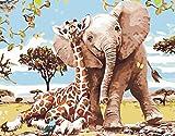 DIY Vorgedruckt Leinwand-Ölgemälde Geschenk für Erwachsene Kinder Malen Nach Zahlen Kits Home Haus Dekor - Elefant und Giraffe 40*50 cm