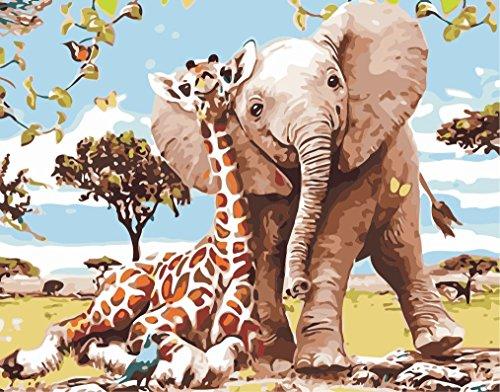 h Zahlen für Erwachsene und Kinder Vorgedruckt Leinwand-Ölgemälde Kits Home Haus Dekor mit MEHRWEGVerpackung - Giraffe und Elefant 16 * 20 Inch ()