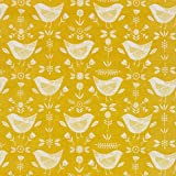 Wipe Clean Oilcloth Narvik Ochre Yellow Bird Scandinavian Cotton Backed Round Square or Rectangle