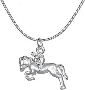 Ciondolo per collana a forma di amazzone che cavalca un cavallo, ideale per ragazze appassionate di animali ed equitazione
