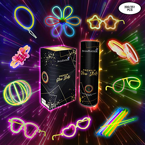 B-infinitum 100 Armbänder Knicklichter Leuchtstäbe Leuchtbalken Neonlicht Festival Ausrüstung Geburtstagsdeko- 251 Stücke Mit 20 Brillenrahmen 10 Ohrringförmige Verbindungsstücke Und Mehr