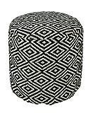 Homescapes Trendiger Design Pouf Rund Aztec Ethno Look schwarz Creme 45 cm