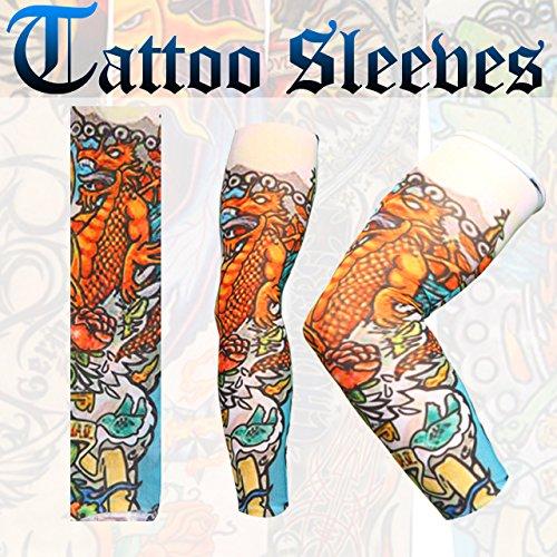Celldeal 8 Pcs Fake Nylon Temporary Tattoo Sleeves Arm Stockings