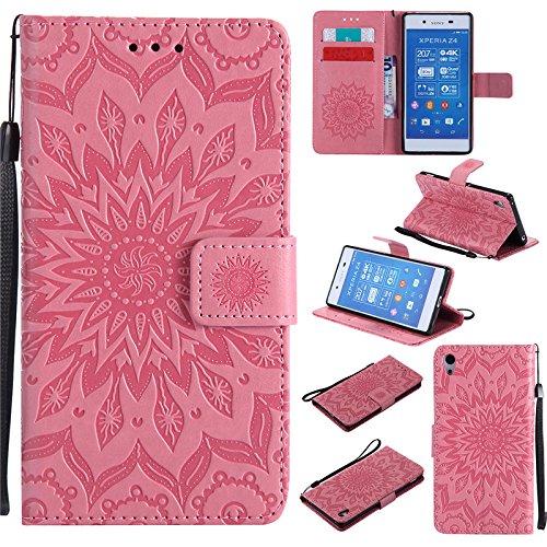 Kelman Custodia per Sony Xperia Z4 / Sony Xperia Z3+ / Z3 Plus (5.2') Cover Custodia Case - 3D Fiore Sole Moda PU Pelle Slot per Scheda, Portafoglio, Flip Custodia - [Rosa]
