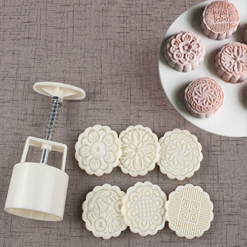 75g Cookie Stamps Moon Cake Mold with 6 Stamps, Cookie Press Mid Autumn Festival DIY Decoration Press Cake Cutter Mold