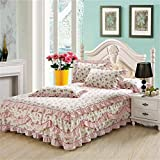 Cotton Lace Bed Skirt Bedspread Single Cotton Bed Cover Bedspread (Size : 200 * 220cm)