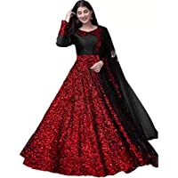SF Fashion Women's Velvet Sequins Semi-Stitched Anarkali Gown