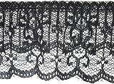 2 Tiered Ruffled Lace Trim 2-1/8″X18yd-Black