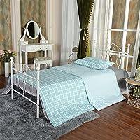 Aingoo Marco de cama de metal con marco de listones (Blanco, 90_x_190_cm)