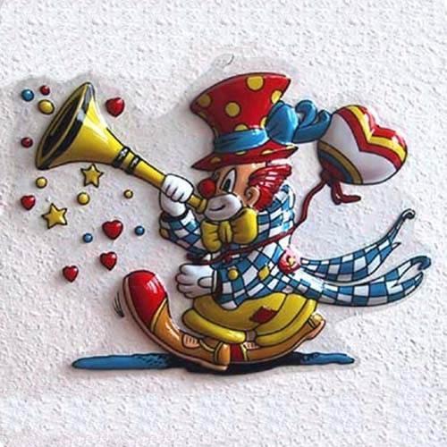 Wanddeko Clown mit Tröte und Herzballon Karneval Dekoration