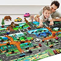 Unionup Children Dinosaur Map Toy Indoor Crawling Mat Game Pad 130*100CM Pretend Play Interactive Toy Early Education Gifts Boys Girls