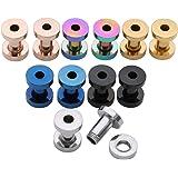 PiercingJ Set di 6 paia di tunnel in acciaio inox, 2 – 20 mm, dilatatori per orecchio, unisex, punk, argento, oro, nero, oro