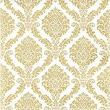 20 Servietten Elegant gold – Muster gold / Zeitlos / Goldene Hochzeit 33x33cm