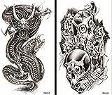 ggsell Halloween tatuaggi temporanei di ggsell tatuaggi temporanei tossici impermeabili e non in un unico pacchetto, il compresi dei teschi e dei Dragoni