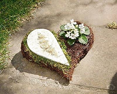 """Pflanz-Herz """"Rose"""" Schlingreisig in dunklem Braunton auf Metallgestell, halbseitig mit getrocknetem Naturmoos und Keramikplatte besetzt, ausgeschlagen mit Folie, zum Bepflanzen geeignet von Frank bei Du und dein Garten"""