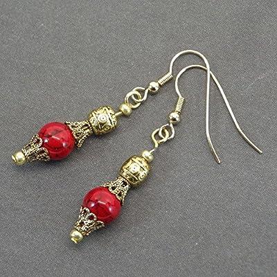 Boucles d'oreilles Thurcolas en perles de turquoise rouges reconstituées et coupelles filigrane couleur or antique
