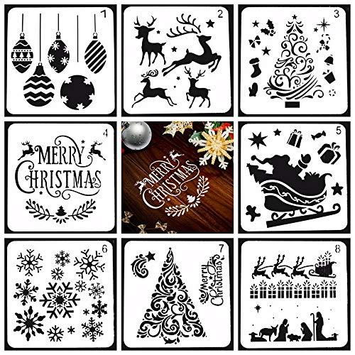 Lirener 8 Stück Grafiken Schablonen(Ballon, Schneeflocke, Baum, Rentier, Sankt), Plastik Zeichnung Malerei Schablonen für Kinder Lernen Reisen Geschenk Weihnachten Schablonen, 13x13cm