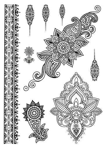 Tattoo Mandala Set Entfernbare Klebe Henna Tattoos Festival Abzieh-Tattoo Folie Aufkleber Temporary (Piraten Make-up Für Mädchen)