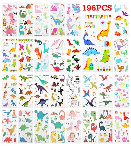 aur Temporary Tattoo Sticker, [28 Sheet] Kids Cute Dino Tattoos Waterproof & Removable Body Stickers Festival Party Favor Fake Tattoos Stickers Set for Boys and Girls, Colorful ()