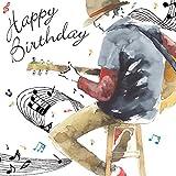 Twizler Cartes d\'anniversaire pour lui avec argent métallisés, effet aquarelle Unique?Musique et de la guitare?Mâle carte d\'anniversaire