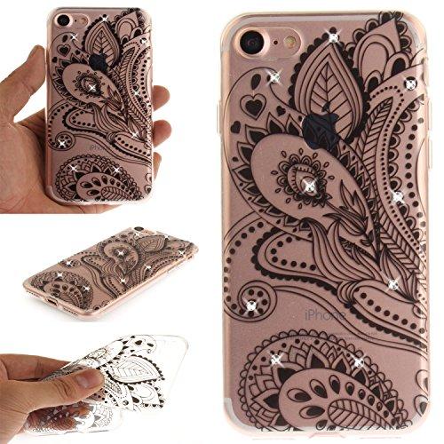 Ooboom® Hülle für iPhone 5SE Handy Tasche Transparent TPU Silikon Gel Ultra Dünn Schutzhülle Case Cover mit Bling Glitter - Totem Blume Weiß Pfau Blume