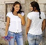 Country Westernbluse Dame - VIRGINIA - Gr. XXL - Sexy Stars & Stripes weiß Bluse Wild West Line Dance Kleidung