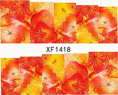 1 planche de Slider/Wrap/Full Cover Nail Stickers pour ongles, Hydrosoluble : XF 1418 de fleurs