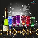 YANX 6 Stück LED Sektgläser Leuchtende Weingläser Kunststoff Sektkelche Flüssigkeit Aktiviert Champagnergläser für Geburtstagsfeier und Hochzeit