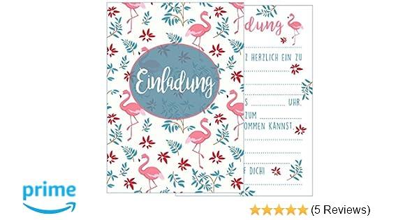 Edition Seidel Set 12 Einladungskarten Einladungen Party Cocktailparty Geburtstag Mädchen Mit Flamingo Postkarte Kindergeburtstag Einladung