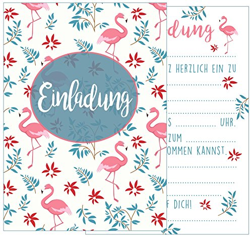 Edition Seidel Set 12 Einladungskarten Einladungen Party Cocktailparty Geburtstag Mädchen mit Flamingo. Postkarte Kindergeburtstag Einladung