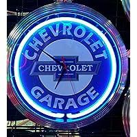 Neon orologio Chevrolet Garage Sign Orologio da parete USA 50'S Style–Neon colore blu - Chevrolet Vetro