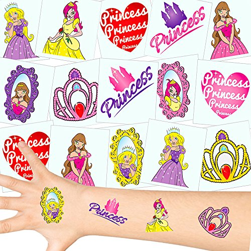German-Trendseller ® - Prinzessin Tattoos Set ┃ NEU ┃ Prinzessin Party ┃ Kindergeburtstag ┃ Mitgebsel ┃12 Tattoos