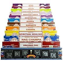 Genuine SATYA SAI BABA - NAG CHAMPA VARIETY MIX GIFT SET B 12 X 15G BOXES OF INCENSE, INCLUDES NAG CHAMPA, SUPER HIT, POSITIVE VIBES, NAMASTE, CHAMPA, OPIUM, REIKI, SPIRITUAL HEALING, DRAGONS FIRE, KARMA, MEDITATION, TRADITIONAL AYURVEDA by Indian Arts