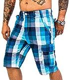 Rock Creek Herren Karoshorts Bermuda Hose CAGO-Shorts Sommer Hose kurz Shorts Herrenshorts H-158 L SkyBlue2