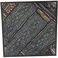 Mogul Interior Indian Pillow Cover Green Ethnic kutch embroidered tapestry 18X18 …