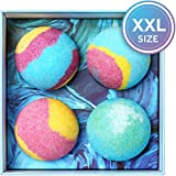 Bath Bombs Gift Set, 5.5 Oz Each Luxurious Bath Bomb Kit with Organic Essential Oils, Lush Spa Floating Fizzies, Rich and Colorful Bubbles, Gift Ideas for Women & Kids, Pack of 4