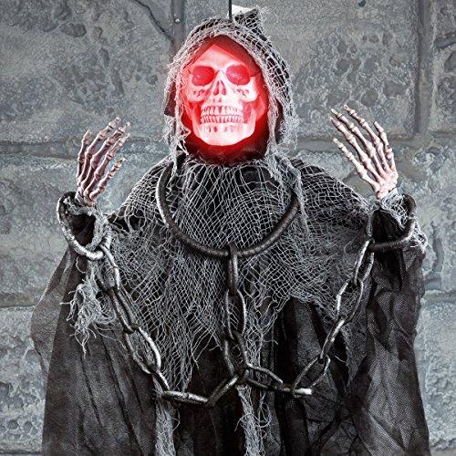 Halloween Grusel Skelett, rasselt mit Handschellen, batteriebetrieben, mit Licht, Sound und Bewegung, 90cm (Handschellen Halloween)