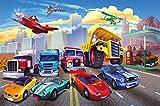 great-art Fototapete Autorennen fürs Kinderzimmer – Wandtapete 210x140 cm 5-teilige Comic Auto Tapete