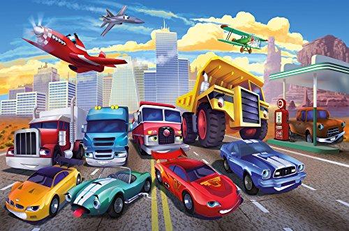 great-art Poster Autorennen Comic für Kinderzimmer - 140 x 100 cm Kinderposter Wandposter Kindermotiv Auto Flugzeug Feuerwehr